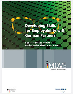 Titelbild der Broschüre 8 Success Stories from the Health and Geriatric Care Sector