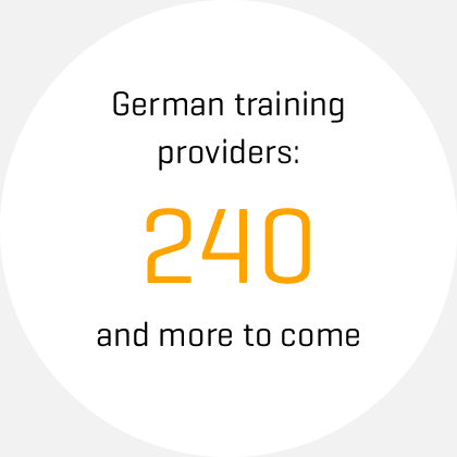 icon, text: German training providers: 240 and more to come