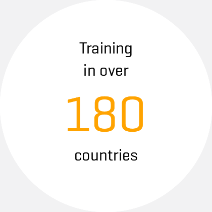 icon, text: Training in over 180 countries