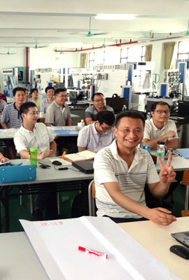 classroom with adult chinese people